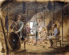 Hahnemuhle PHOTO RAG Fine Art Paper (other products available) - MAIDEN CASTLE, Dorset. Reconstruction drawing of interior of hut showing family life in the Iron Age. - Image supplied by Historic England - Fine Art Print on Paper made in the UK The Elder Scrolls, Fine Art Prints, Framed Prints, Poster Prints, Canvas Prints, Framed Wall, Iron Age, Between Two Worlds, Portrait Images