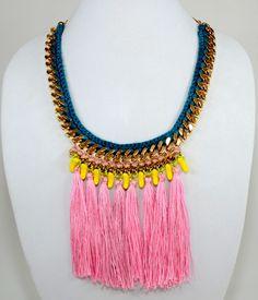 Banana Necklace - #InspiredLuxe #HenrietteBotha #chain #woven #necklace #jewelry #fringe #tassle #ethnic #african #handmade #artisan #crochet #fashion Spring Summer Trends, Crochet Fashion, Contemporary Design, Ethnic, Weaving, Artisan, Jewelry Design, Banana, Chain