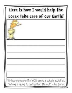 The Lorax Writing {FREE} After reading The Lorax by Dr. Seuss, Have your students celebrate Earth Day by writing about how they would help the Lorax to take care of our earth. Dr Seuss Activities, Earth Day Activities, Writing Activities, Classroom Activities, Teaching Resources, Classroom Ideas, Sequencing Activities, Teaching Ideas, Dr Seuss Week