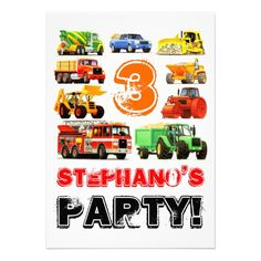 Big Trucks 3rd Birthday Custom Party Invitations - TruckStore   #truckstore #kidsparty #birthday #kids