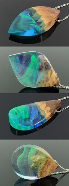 Resin wood pendant, Northern lights jewelry, Aurora Borealis, Night sky pendant, Aurora necklace, Nature jewelry, Night sky magic jewelry Handmade jewelry by WoodAllGood. #WoodAllGood