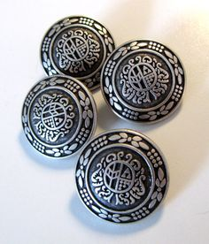 Set of Beautiful Metal Buttons Antiqued Silver Pewter Blazer Buttons