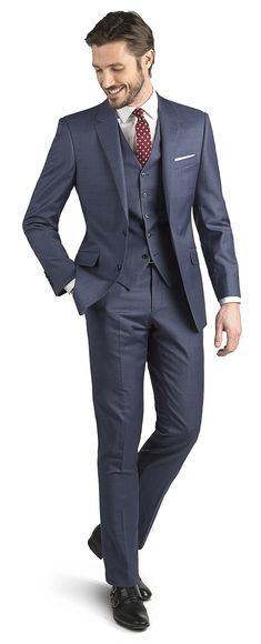 Mills Blue Sharkskin 2-Button Slim Fit Suit