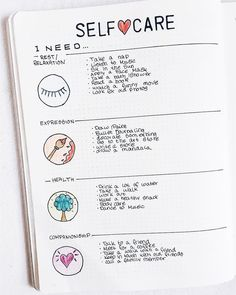 Self Care Spread for Bullet Journal