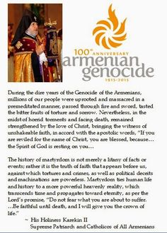 DC-Laus Deo: Karekin II on the Canonization of the Armenian Genocide Martyrs