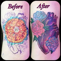 Cover up  tattoo, human heart with flowers in color, by Jenny Forth, Miami