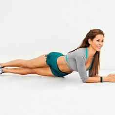 Cheek to Cheek - Fitnessmagazine.com balancing on floor on forearms and toes, a straight line from head to heels. Keeping shoulders level, twist midsection to lower left hip toward floor; touch floor if possible. Return to plank and then lower right hip to floor. Do 20 reps, alternating sides. Do 4 sets.