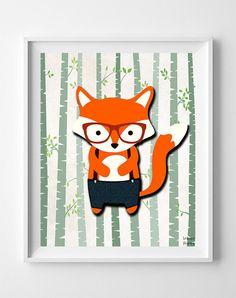 Woodland Fox White BG Print