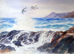 The birds in this watercolor painting are flying over rough water.