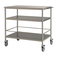 IKEA - FLYTTA, Kitchen trolley, Gives you extra storage, utility and work space.Lockable castors for high stability.The rails can be used for hanging towels or be completed with GRUNDTAL S-hooks for convenient storing of kitchen utensils.