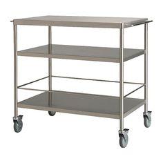 FLYTTA Camarera IKEA Amplia superficie de trabajo y capacidad de almacenaje. Ruedas con tope para mayor estabilidad.