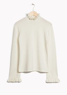& Other Stories image 1 of Frilled Turtleneck Knit  in White