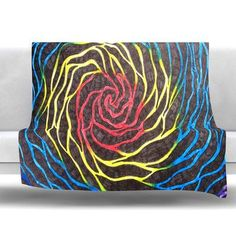 "KESS InHouse Rainbow Vortex Fleece Throw Blanket Size: 40"" L x 30"" W"