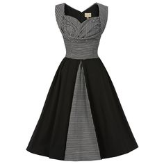 Avis Black Dogtooth Swing Dress | Vintage Style Dresses - Lindy Bop