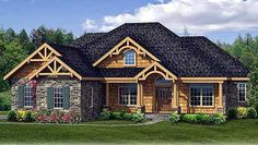 Plan W3878JA: Rustic Split bedroom house plan - excellent plan - love the home center, desk, pet center, w/d right off of garage. don't love the office right as you walk into the house, but has doors to close. love storage in garage, workshop in garage, large bonus room upstairs. Might be tied for favorite.