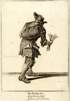 An ink seller, seen from behind with barrel on his back and a bunch of quills in his right hand;  reworked and published after c.1750  Etching and engraving