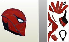 Red Hood Helmet Pepakura Foam Template On