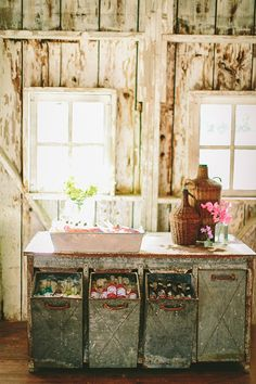 LOVE this drink station! Drink Table, A Table, Drink Bar, Industrial Wedding Inspiration, Farm Wedding, Wedding Ideas, Wedding Summer, Wedding 2015, Woodland Wedding