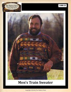 Vintage Knitting Pattern Men's Train Pattern Raglan Sleeve Sport Sweater Patterns Chest Size 30.5-40 Inches Instant Digital PDF Download