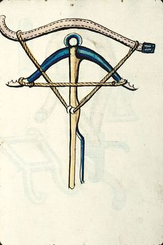 How to carry a crossbow on your belt.  Besançon, Bibl. mun., ms. 1360, f. 081 –  Arbalète