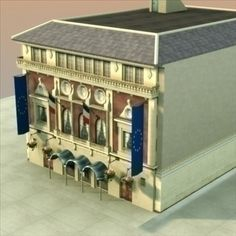French Town Hall 3D Model-   ................................French style Town Hall or civic building.  Suitable for games................................. - #3D_model #Government
