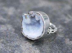 Lavender Geode Ring / Druzy Ring / druzy sterling silver ring /Lavender druzy ring. $69.00, via Etsy.