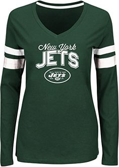 NFL New York Jets Womens Long Sleeve Deep VNeck Tee XLarge *** To view further for this item, visit the image link.