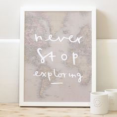 Never stop exploring print - world map poster | Old English Company