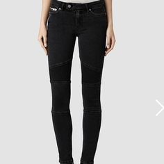 All Saints Biker Jeans Amazing jeans! too tight for me now. washed black, beautiful detail. size 26, fits tts. low rise. worn only 4,5 times! All Saints Jeans Skinny