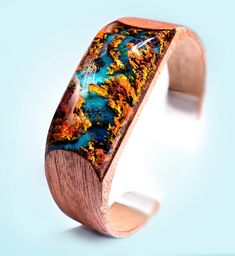 Autumn River Bracelet – Secret Wood Inc Wooden Rings, Wooden Jewelry, Resin Jewelry, Jewelry Art, Epoxy Resin Wood, Resin Art, Acrylic Resin, Resin Bracelet, Bracelets