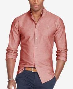 Polo Ralph Lauren Men's Long-Sleeve Slim-Fit Stretch-Oxford Shirt - Orange White XS