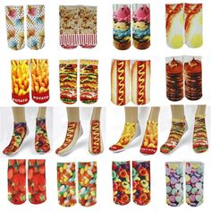 WHOLESALE LOT OF 12 PAIRS NOVELTY CUTE FOOD PHOTO PRINT WOMEN ANKLE SOCKS #PT110 #HeavensFashion #anklesocks