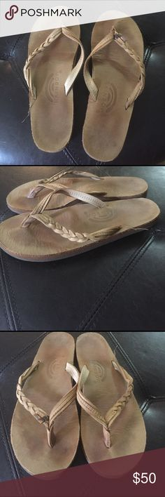Size 7 rainbow sandals Not fully broken in! I'm a hairstylist so there is a spot of hair color on the strap. Worn a couple of times. Rainbow Shoes Sandals