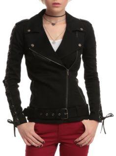 Joan Jett Tripp NYC Black Twill Moto Jacket...... Joan Jett has her own line of clothes at Hot Topic....Must resist!!