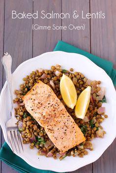 baked salmon + lentils.