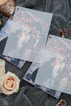 Simple modern rose gold gold silver foil vellum save the date card edit with your own engagement photo SWTD001 #wedding#weddinginvitations#stylishwedd#stylishweddinvitations #vellumweddinginvitations