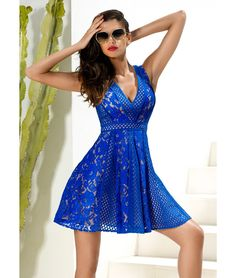 c91c150f7b Sax blue textured lace skater dress with net godets and flat binding  detail. This Forever Unique dress is fully lined