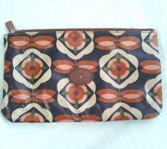 Fossil Key-Per Hand Make Up Clutch Purse Bag Zipper Geometric Floral Multi Color #Fossil #Clutch