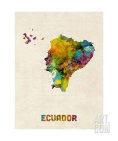 Ecuador Watercolor Map Photographic Print by Michael Tompsett at Art.com