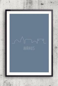 Byplakat - Aarhus i blå - 50x70