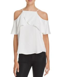 AQUA Satin Ruffle Cold Shoulder Top | Bloomingdale's