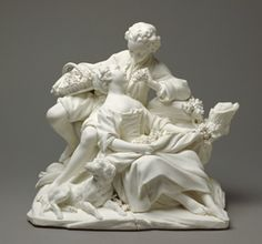 The Grape Eaters (Les Mangeurs de Raisins) (one of a pair), 1757-1766. Soft-paste biscuit porcelain modelled under the direction of Étienne-Maurice Falconet (French, 1716 - 1791) after engraved designs by François Boucher (French, 1703 - 1770) 22.9 x 24.8 x 17.8 cm Gift of J. Paul Getty