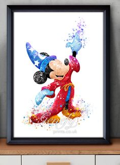 Disney Mickey Mouse Sorcerer Watercolor Painting Art Poster Print Wall Decor https://www.etsy.com/shop/genefyprints
