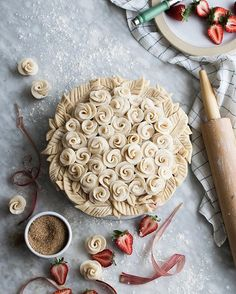 This Rosy Strawberry & Rhubarb Pie is new on the blog tonight! PLUS: video! Pop on over to the blog and see how to make these little pie dough roses  . #pie #piecrust #berry #berrypie #bakersofinstagram #wsbakeclub #foodphotographer #foodphotography #foodstyling #vscofood #vscofashionfood #refinedsugarfree #sugarfree #wholefoodplantbased #onmytable #thatsdarling #feedfeed @thefeedfeed #yahoofood #buzzfeast #huffposttaste #foodwinewomen #wholegrain #strawberries