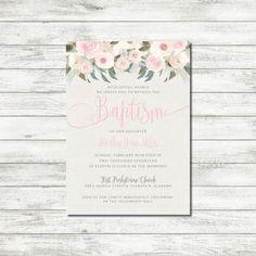 Printable Neutral Rustic Baptism Invitation // Christening Invitation // Baby Dedication Invitation for Girl