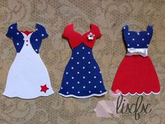 12 embellishments 4th July Dresses stampin up die cuts for cards and scrapbook #StampinUp