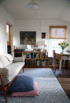 Sofa//rugs//shelving
