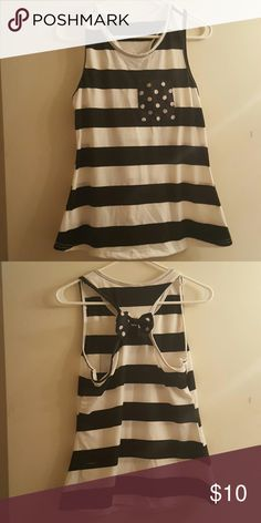Tank top never warn Black and white stripe with polka dot pocket on front and bow on back Tops Tank Tops