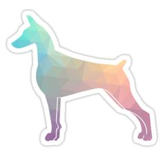 Doberman Pinscher Dog Colorful Geometric Pattern Silhouette - Pastel by TriPodDogDesign
