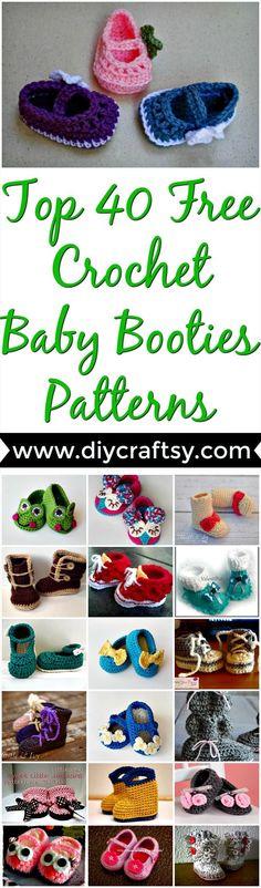 Top 40 Free Crochet Baby Booties Patterns- DIY